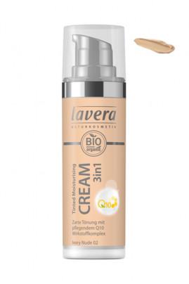 Crème Hydratante Teintée Vegan Q10 3 en 1 - 02 Ivory Nude - Lavera