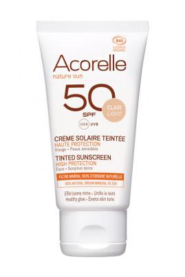 Crème Solaire Bio Teintée Visage - SPF 50 Très Haute Protection - Acorelle