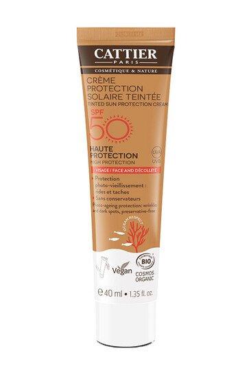 Crème Protection Solaire Teintée SPF 50 Bio & Vegan - Visage & Décolleté - Cattier